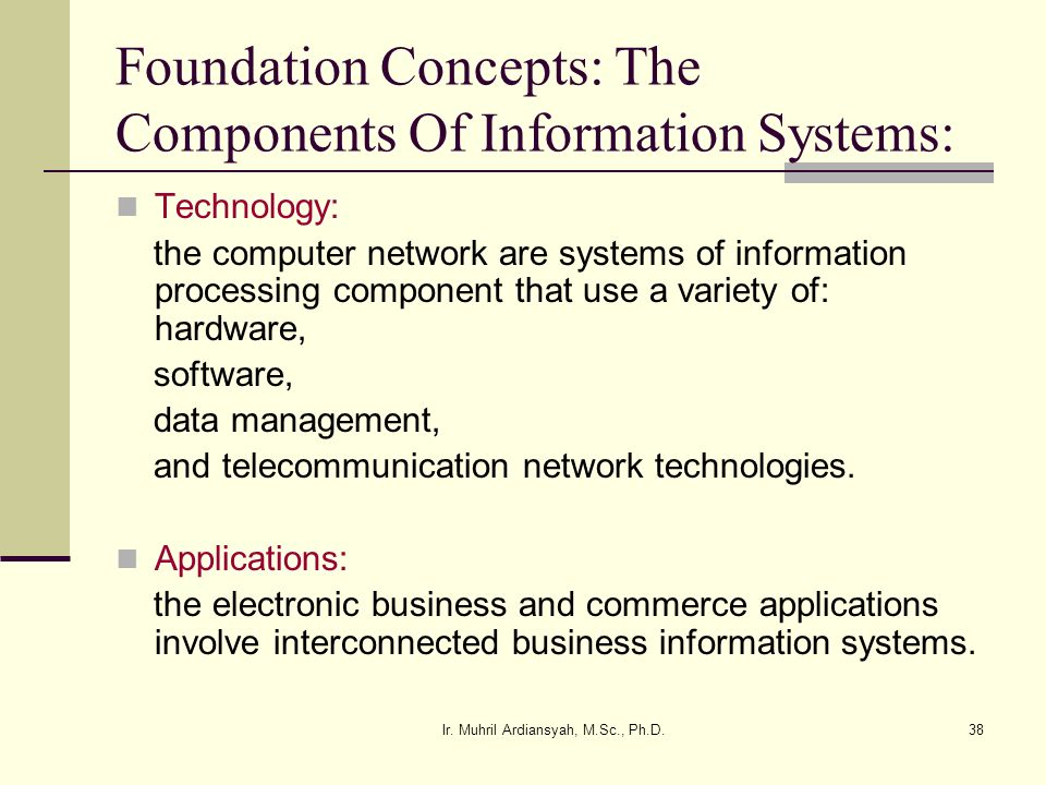Foundation Concepts: The Components Of Information Systems: