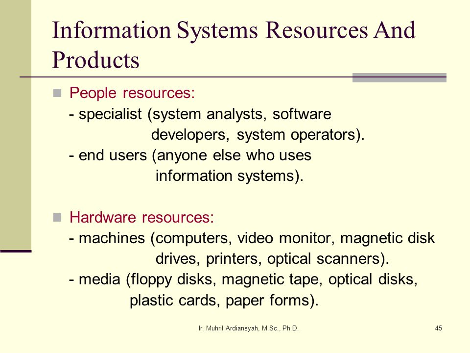 Information Systems Resources And Products