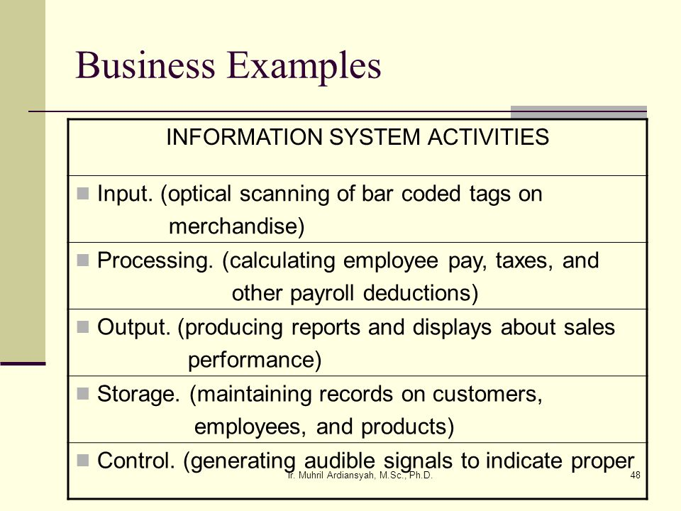 Business Examples INFORMATION SYSTEM ACTIVITIES