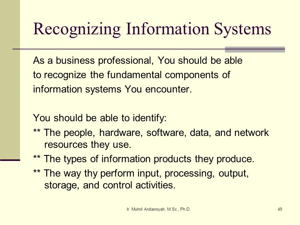 Recognizing Information Systems