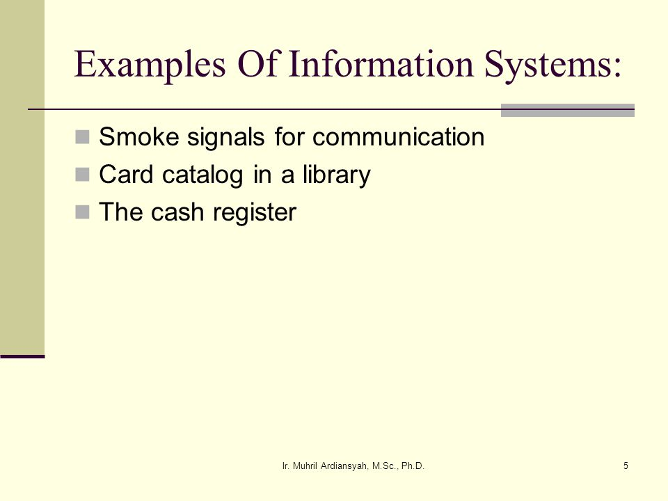 Examples Of Information Systems: