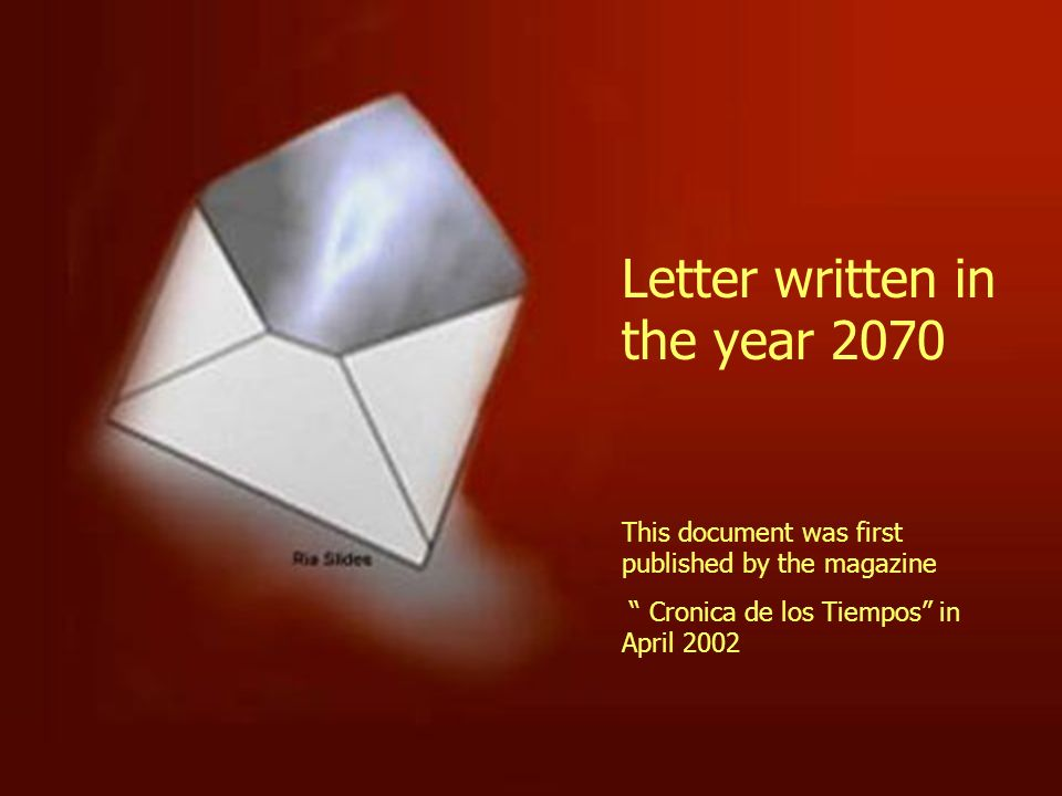 Letter written in the year 2070
