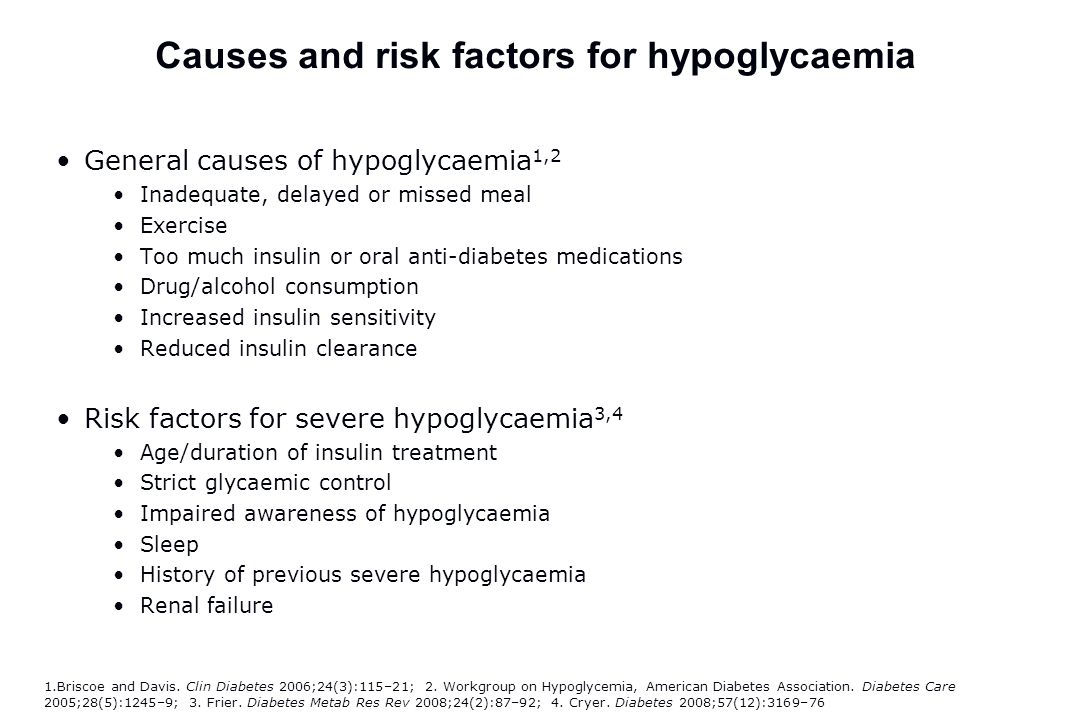 Causes and risk factors for hypoglycaemia