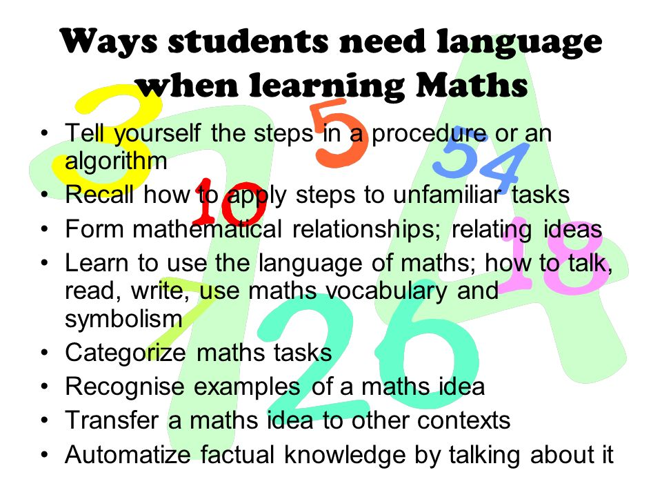 Ways students need language when learning Maths