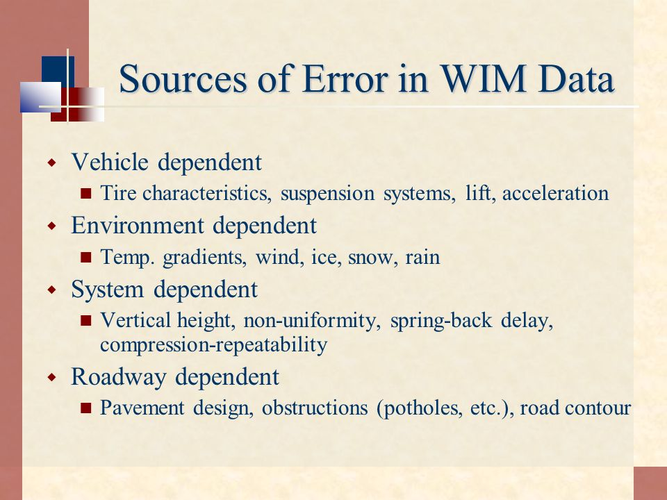 Sources of Error in WIM Data
