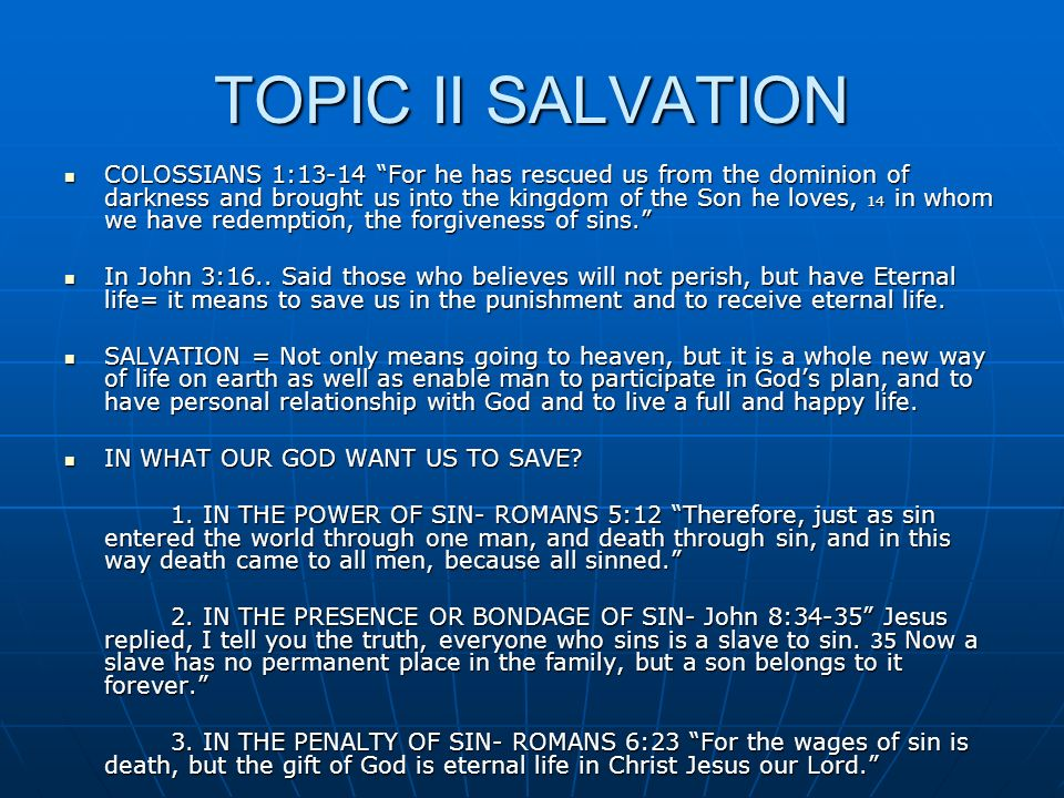 TOPIC II SALVATION