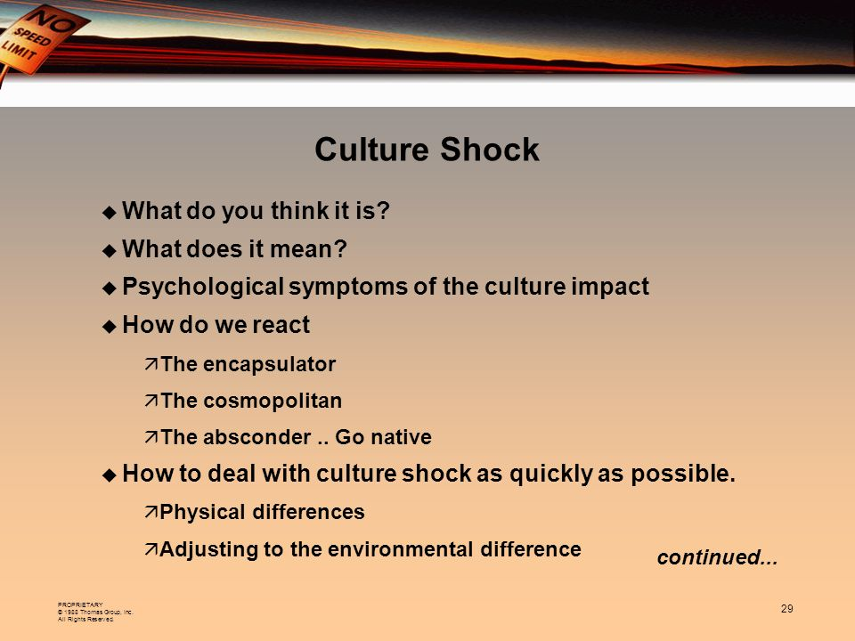 Culture Shock What do you think it is What does it mean