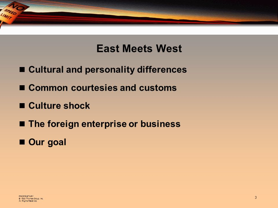 East Meets West Cultural and personality differences