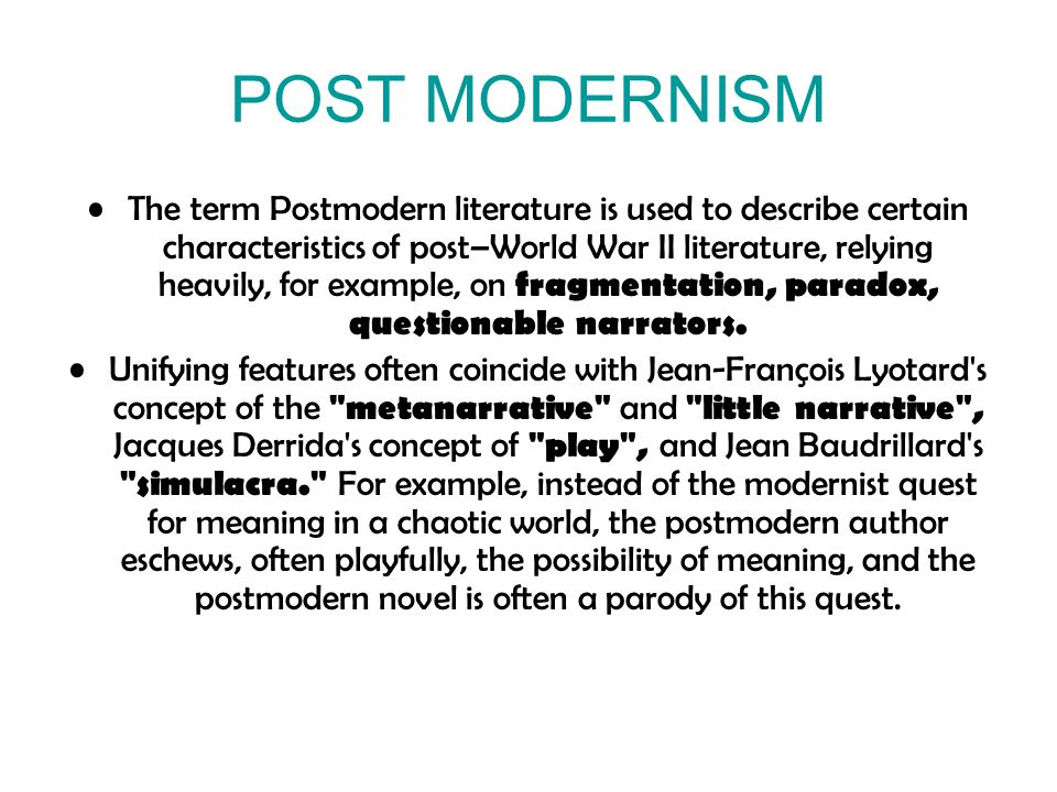 humanities and postmodernism essay Download humanities and arts books for free all formats available for pc, mac, ebook readers and other mobile devices large selection and many more categories to choose from.