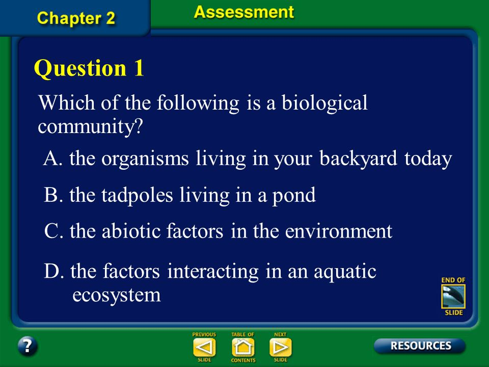 Question 1 Which of the following is a biological community