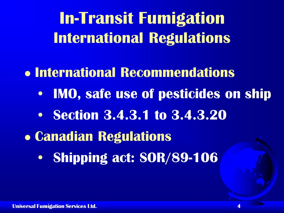 In-Transit Fumigation International Regulations