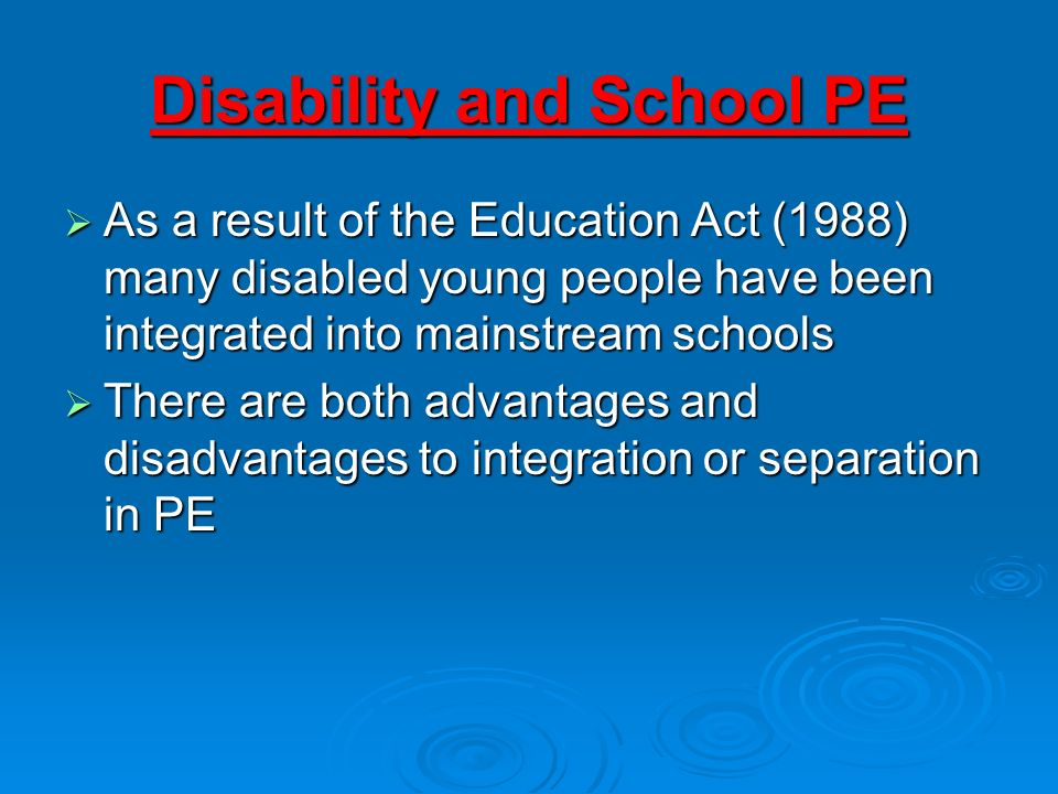 Disability and School PE