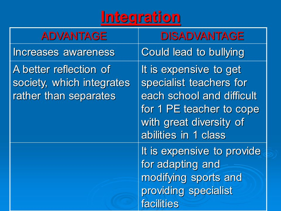 Integration ADVANTAGE DISADVANTAGE Increases awareness