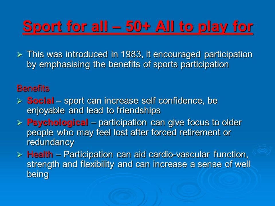 Sport for all – 50+ All to play for