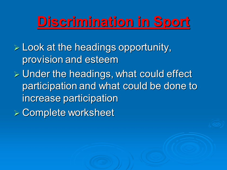 Discrimination in Sport