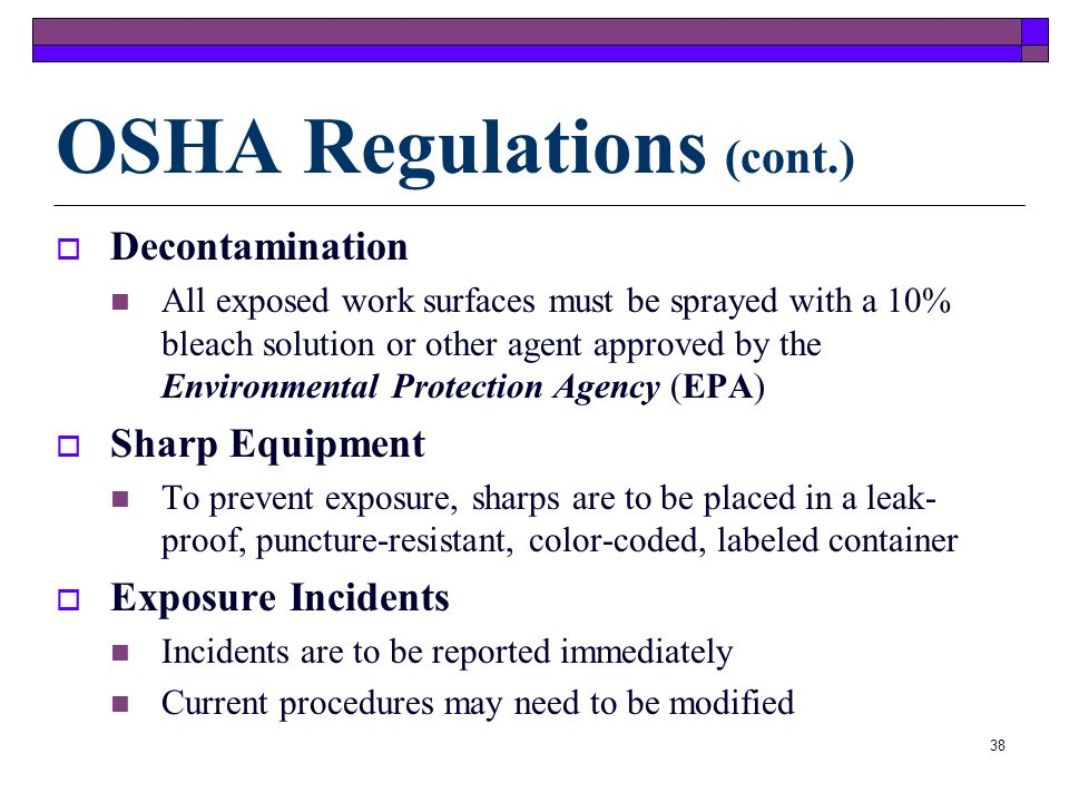 OSHA Regulations (cont.)