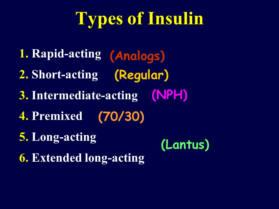 Types of Insulin 1. Rapid-acting (Analogs) 2. Short-acting