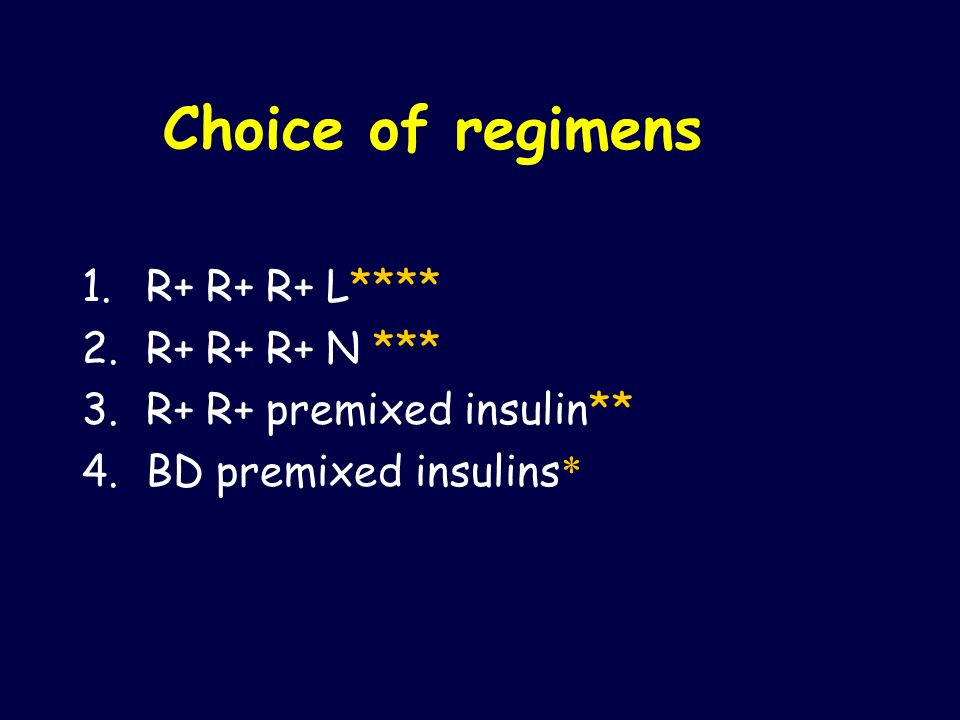 Choice of regimens R+ R+ R+ L**** R+ R+ R+ N ***