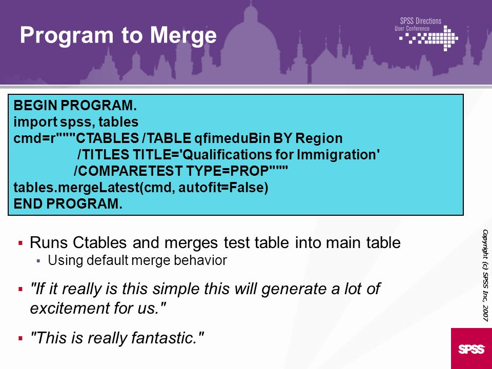 Program to Merge Runs Ctables and merges test table into main table