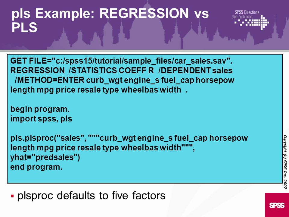 pls Example: REGRESSION vs PLS