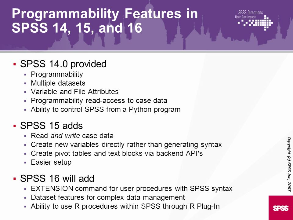 Programmability Features in SPSS 14, 15, and 16