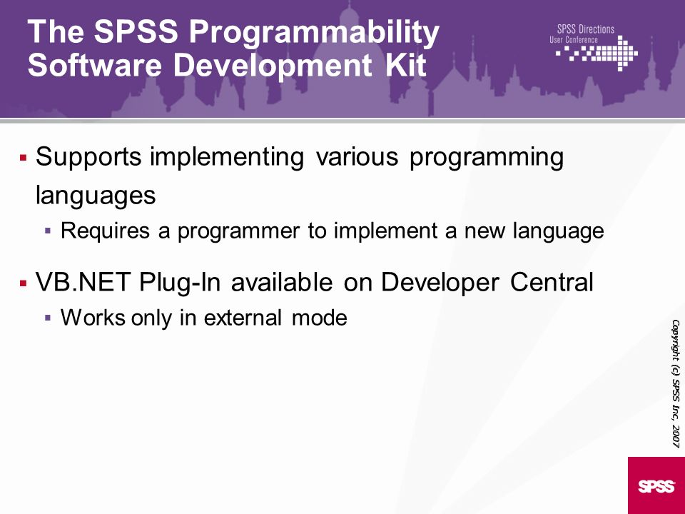 The SPSS Programmability Software Development Kit