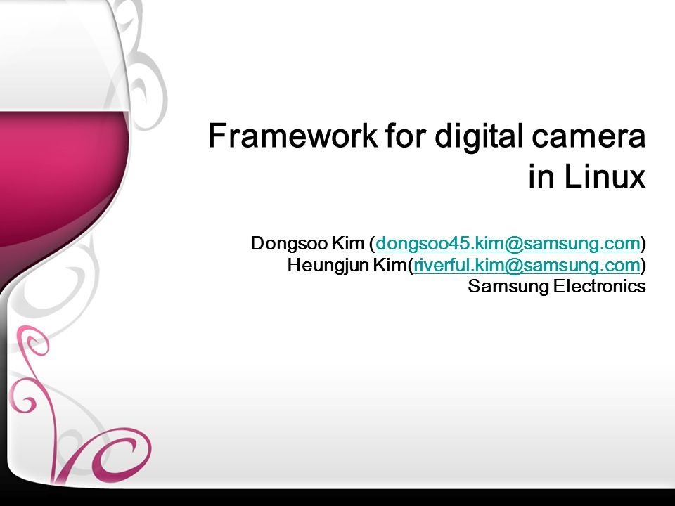 Framework for digital camera in Linux
