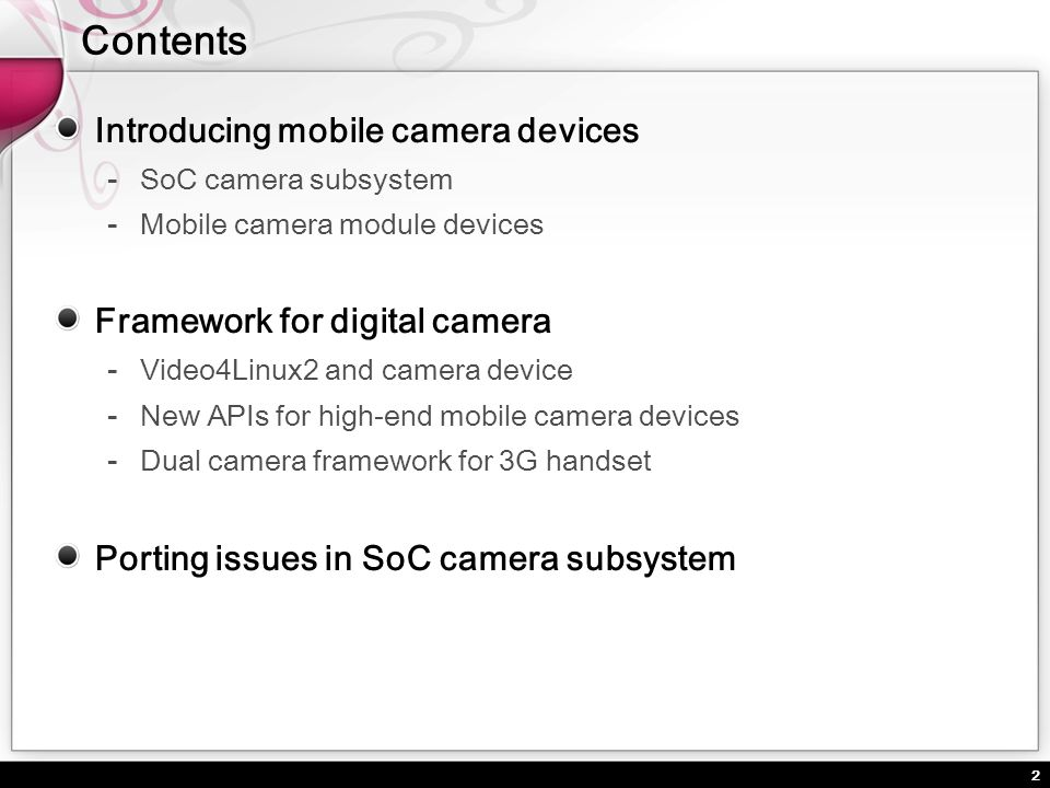 Contents Introducing mobile camera devices
