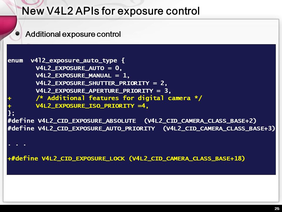 New V4L2 APIs for exposure control