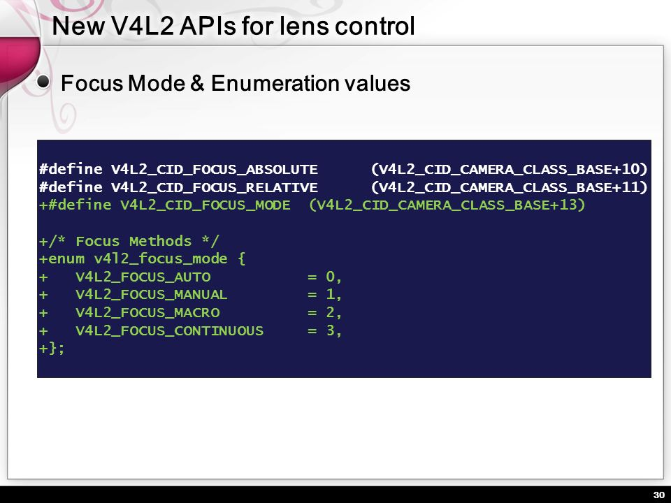 New V4L2 APIs for lens control