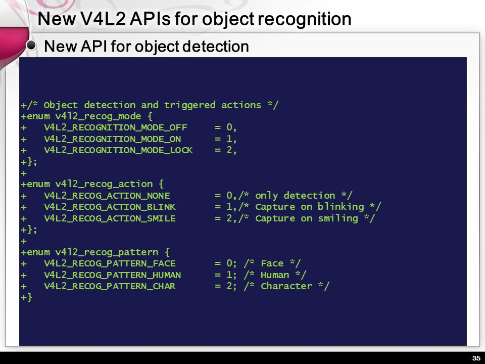 New V4L2 APIs for object recognition