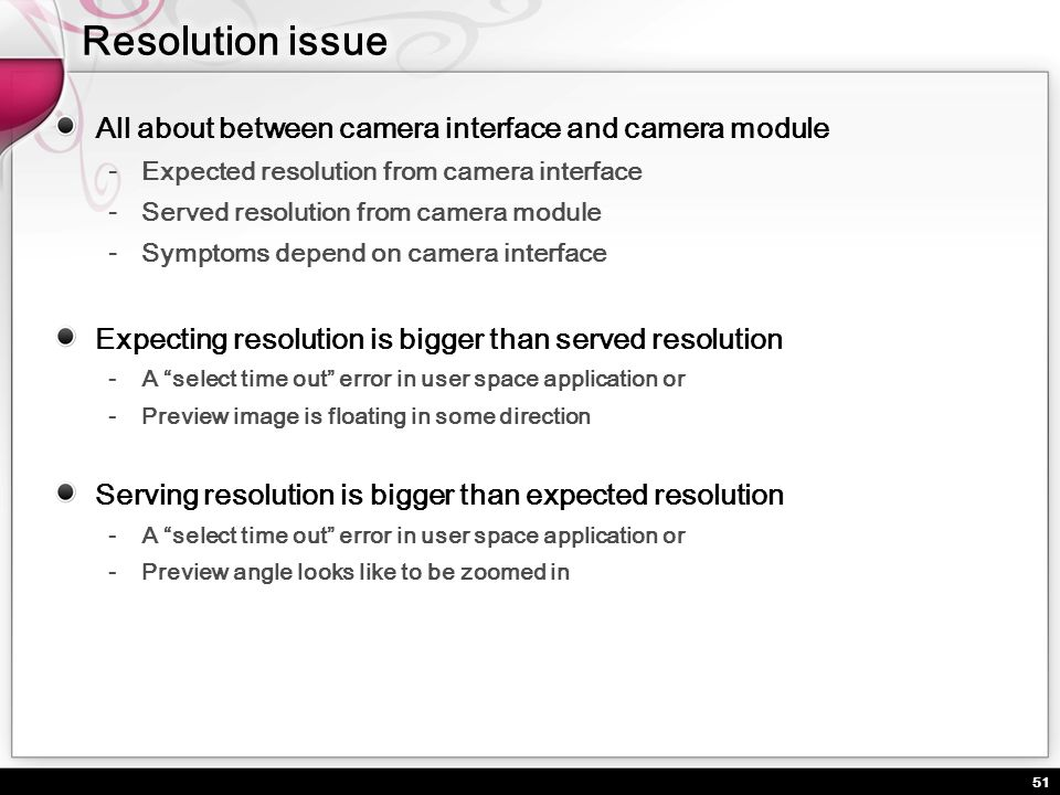 Resolution issue All about between camera interface and camera module