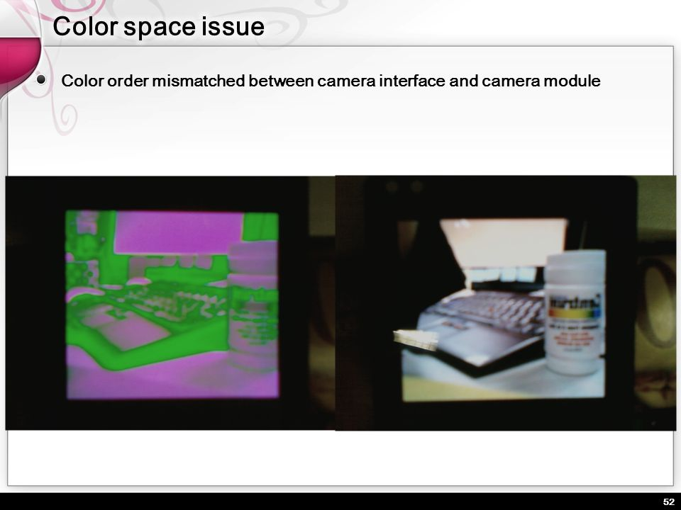 Color space issue Color order mismatched between camera interface and camera module