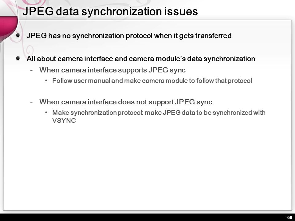 JPEG data synchronization issues