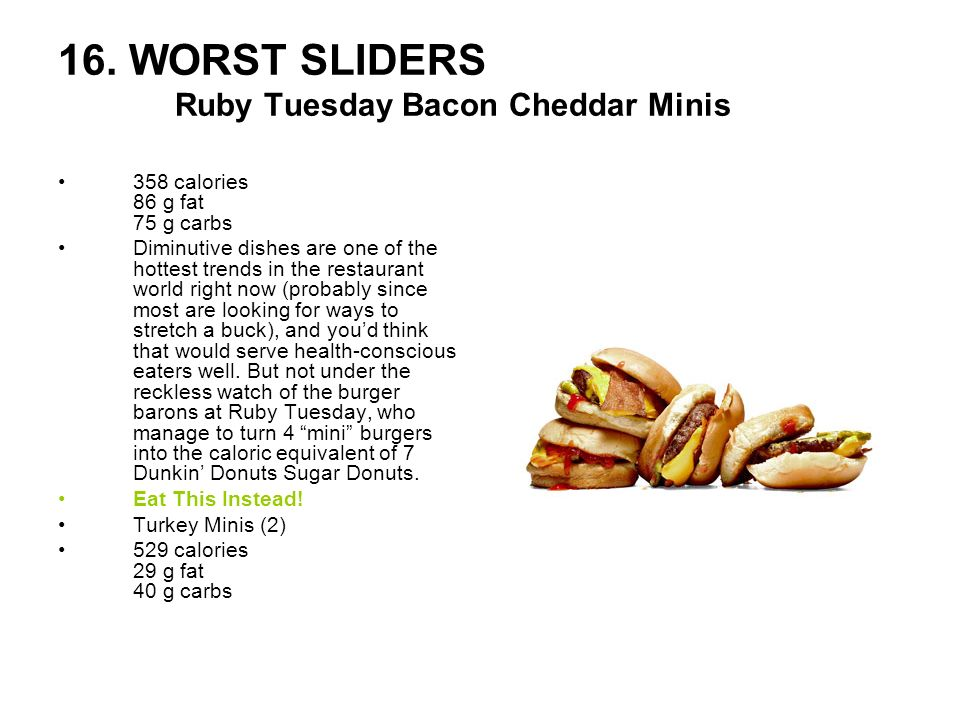16. WORST SLIDERS Ruby Tuesday Bacon Cheddar Minis
