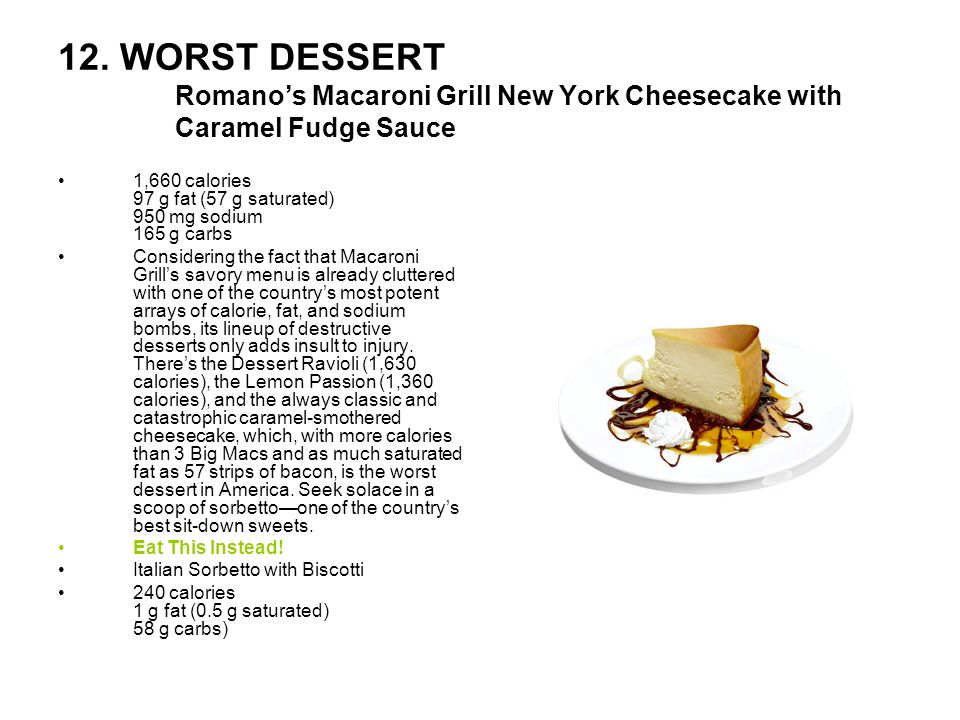 12. WORST DESSERT Romano's Macaroni Grill New York Cheesecake with Caramel Fudge Sauce
