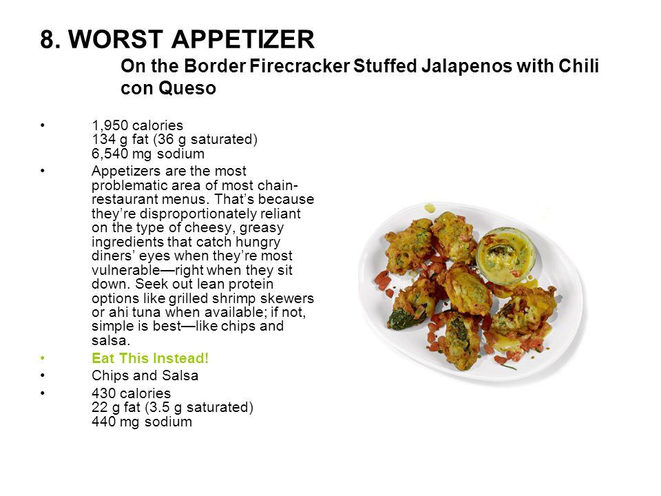 8. WORST APPETIZER On the Border Firecracker Stuffed Jalapenos with Chili con Queso