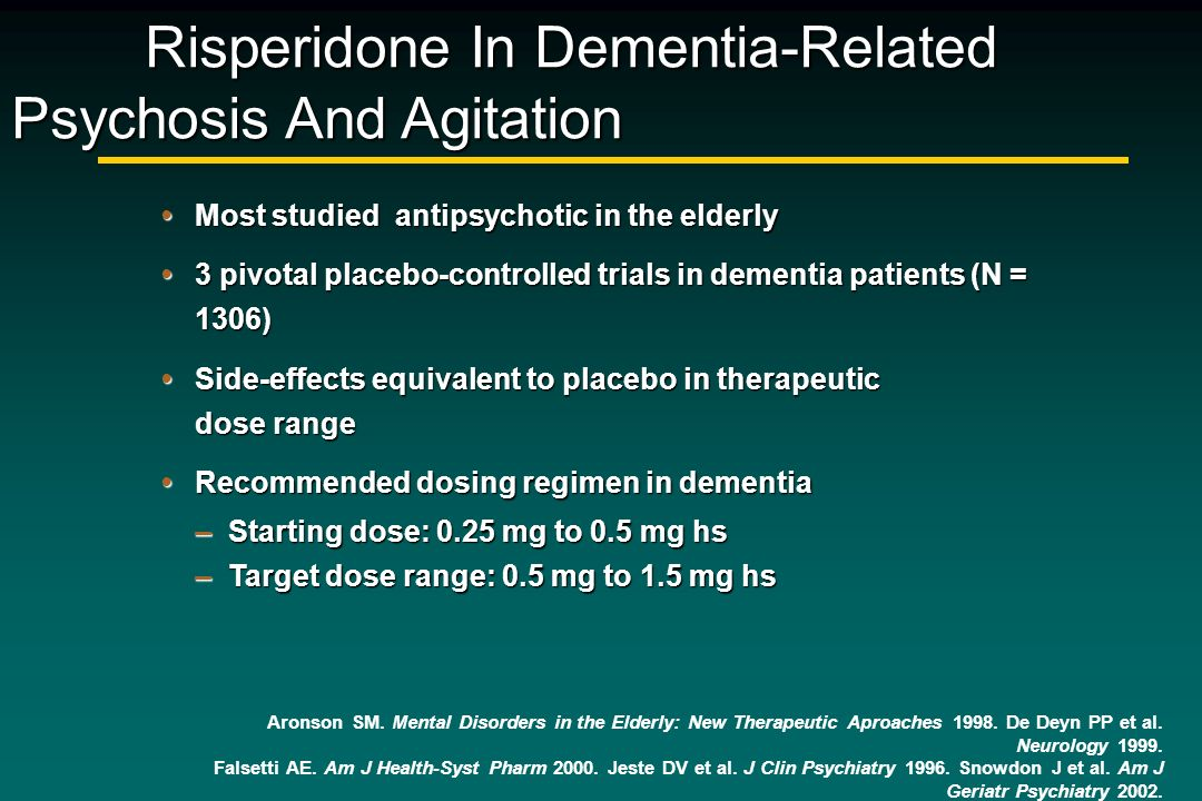 Risperidone In Dementia-Related Psychosis And Agitation