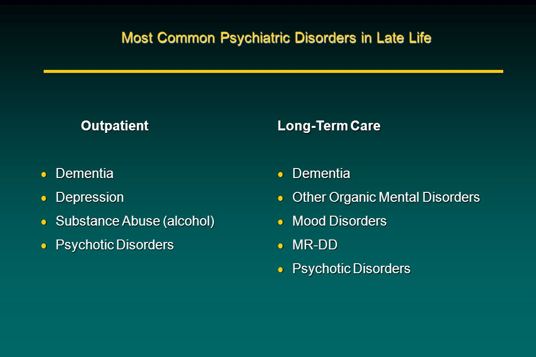 Most Common Psychiatric Disorders in Late Life