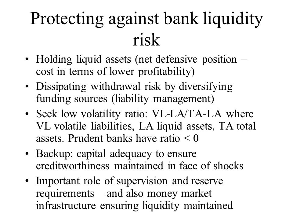 Protecting against bank liquidity risk
