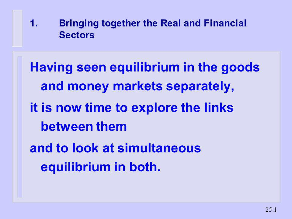 1. Bringing together the Real and Financial Sectors