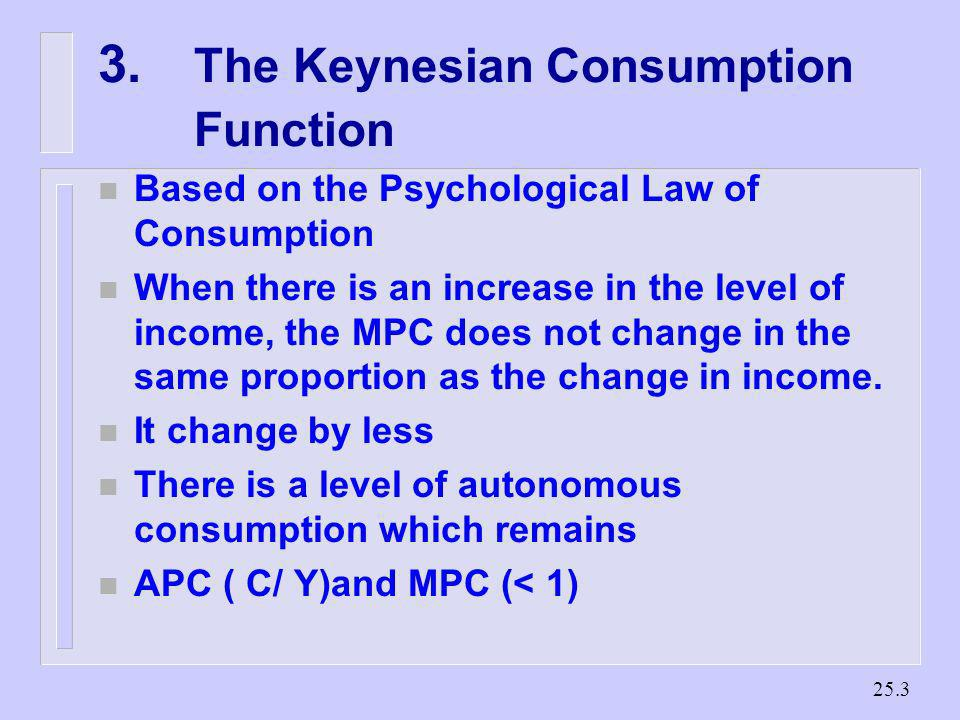 3. The Keynesian Consumption Function