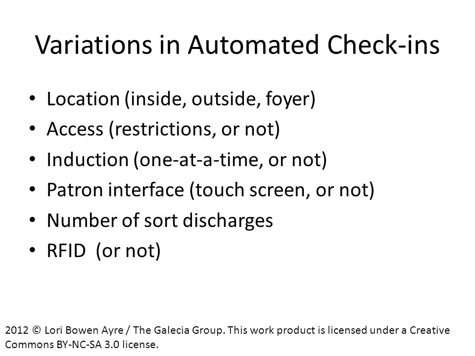 Variations in Automated Check-ins