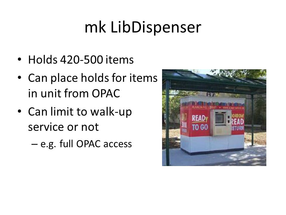 mk LibDispenser Holds 420-500 items