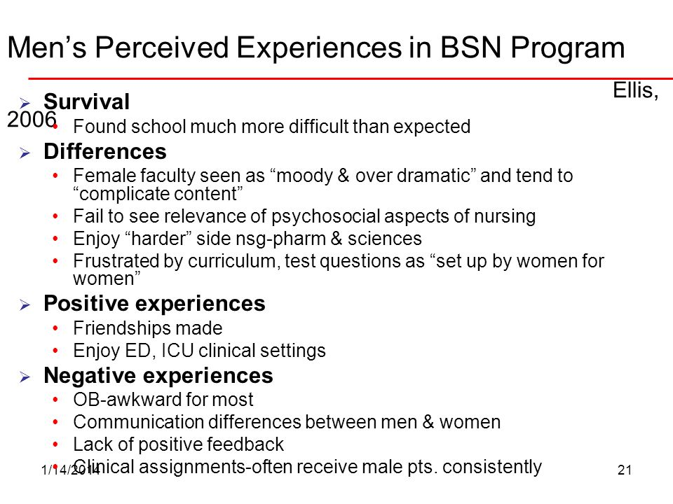 Men's Perceived Experiences in BSN Program Ellis, 2006