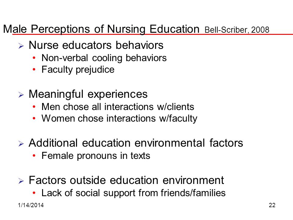 Male Perceptions of Nursing Education Bell-Scriber, 2008