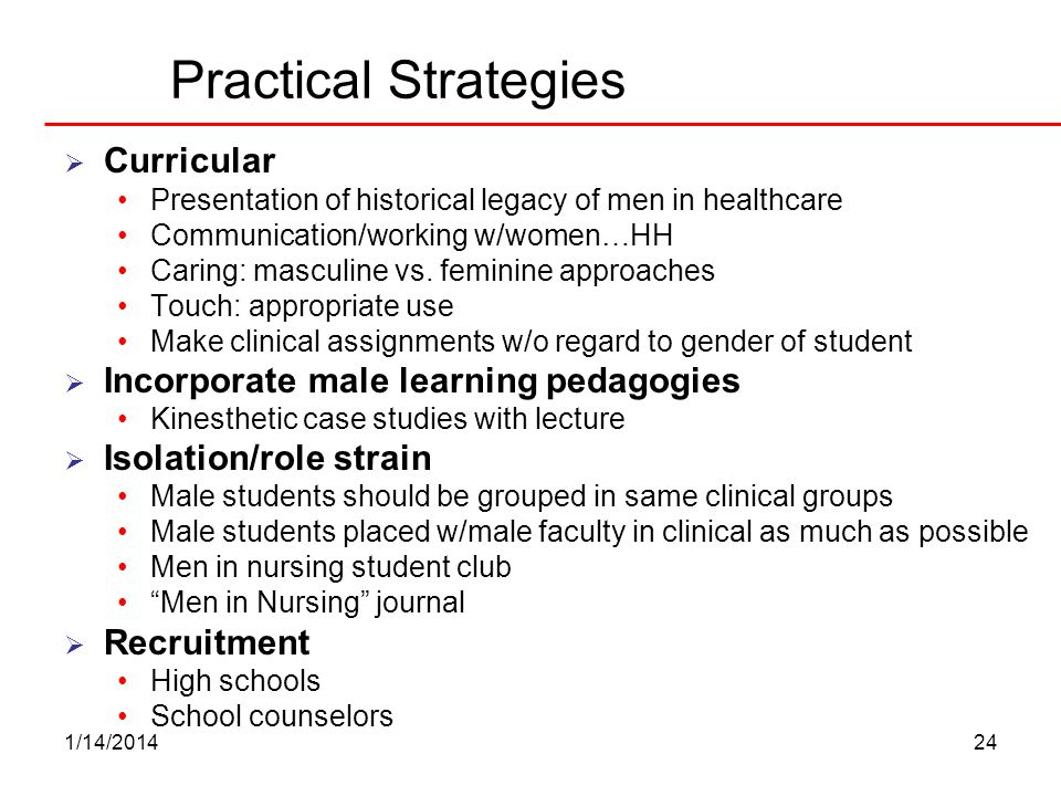 Practical Strategies Curricular Incorporate male learning pedagogies