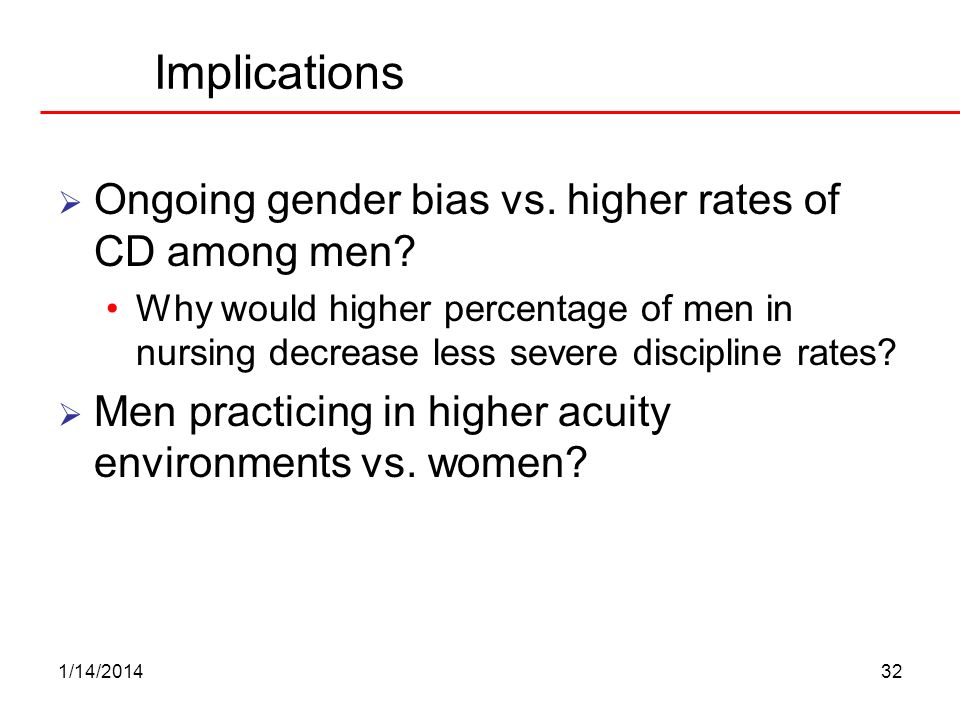 Implications Ongoing gender bias vs. higher rates of CD among men