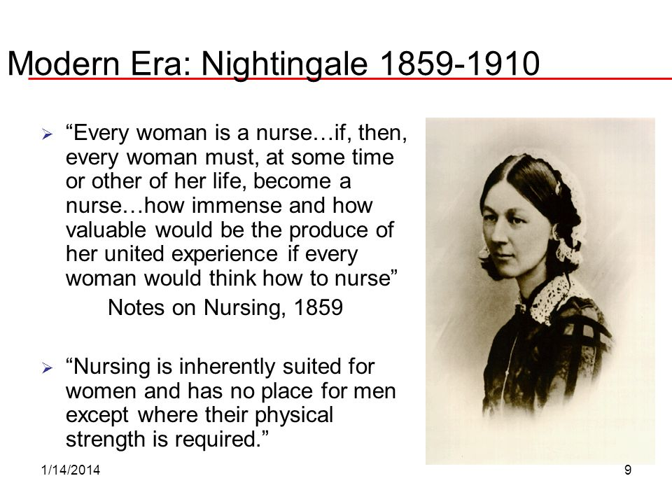 Modern Era: Nightingale 1859-1910