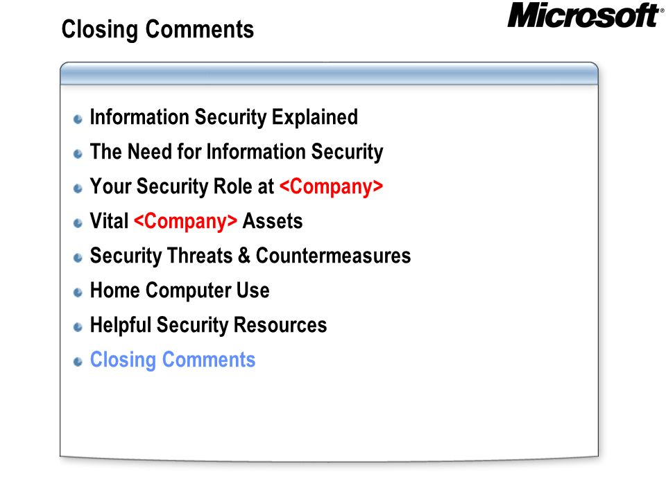 Closing Comments Information Security Explained